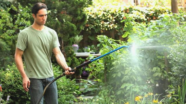 ms man spraying plants in backyard with sprinkler / jersey city, new jersey, usa - 水撒き点の映像素材/bロール