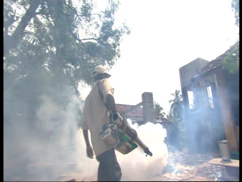 A man sprays DDT to control mosquitoes following the 2004 Indian Ocean Tsunami