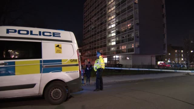 Man stabbed to death in Brixton youth club ENGLAND London Brixton Marcus Lipton Youth Club Police tape cordon outside youth club Police van and...