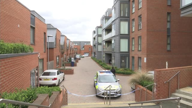 Man stabbed to death in Colindale / woman stabbed to death in Brixton ENGLAND London Colindale Zenith Close EXT Various shots of police car and...
