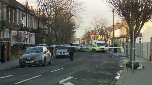 man stabbed to death in thornton heath named as john kennett england south london croydon thornton heath ext close shot of police tape cordon with... - step ladder stock videos & royalty-free footage