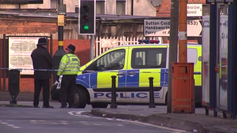 man stabbed to death on birmingham bus; england: birmingham: handsworth: ext police van and cordon across road close to scene of stabbing of man on... - handsworth stock videos & royalty-free footage