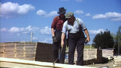 ms man stacking lumber from lumber mill / canada  - timber yard stock videos & royalty-free footage