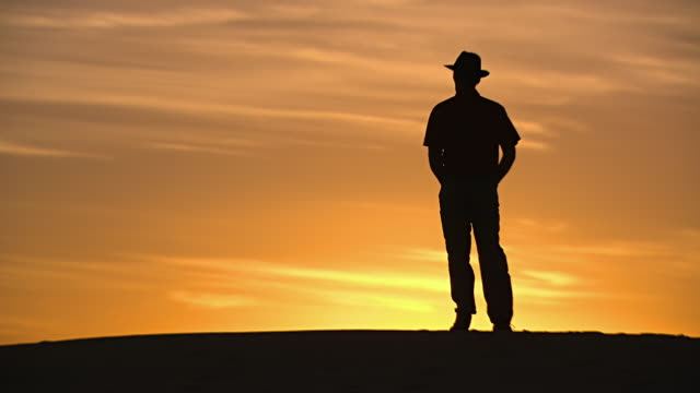ws man standing at sunsetting / mungo national park, new south wales, australia - hat stock videos and b-roll footage