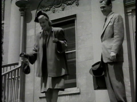 man standing by car parked at bottom of steps woman man standing top of steps children walking up steps to parents ms woman at top of steps hugging... - 1948 stock videos and b-roll footage