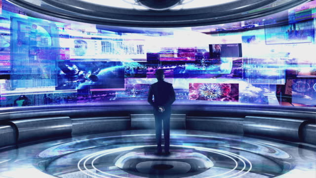 ws cgi man standing in digital information centre / melbourne, victoria, australia - futuristico video stock e b–roll