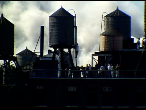man stands on water tank ladder to watch smoke from collapse. shot in manhattan. - 2001 bildbanksvideor och videomaterial från bakom kulisserna