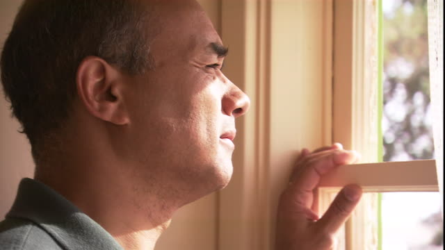 a man stares out a window. - blowing stock videos & royalty-free footage