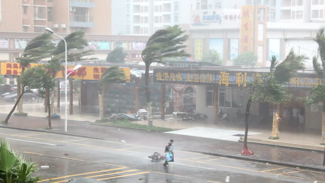 stockvideo's en b-roll-footage met man struggles in fierce hurricane eyewall winds - china oost azië