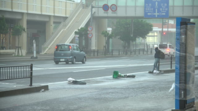 man struggles in street as powerful wind and rain sweep from typhoon trami sweep across town - gale stock videos and b-roll footage
