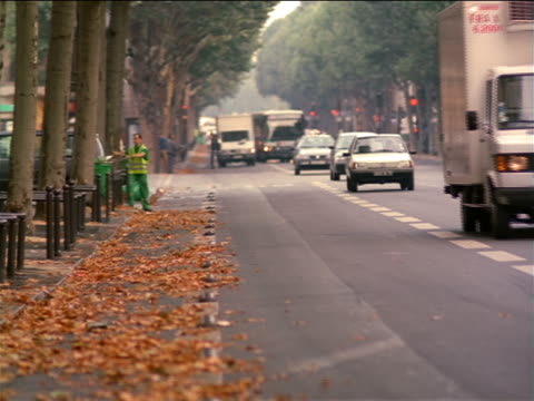 man sweeping leaves from side of street lined by trees with oncoming traffic / paris, france - sweeping stock videos & royalty-free footage