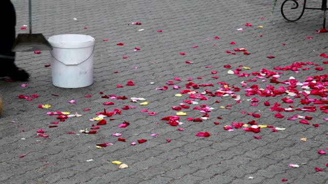 Man sweeping rose petals in the bucket