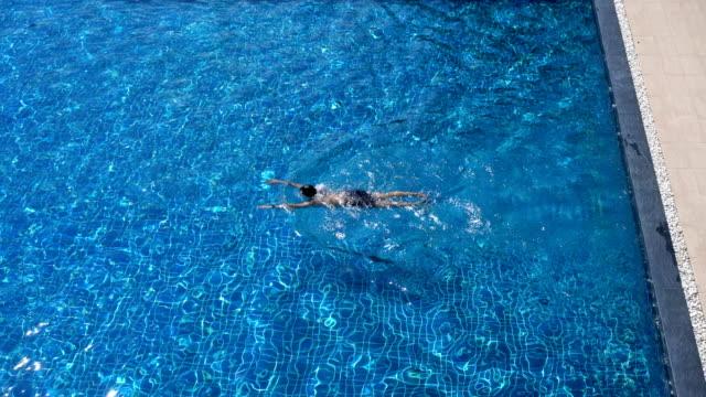 Man Swimming Breaststroke in Swimming Pool