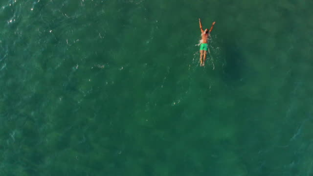 man swimming in aegean sea - one mature man only stock videos & royalty-free footage