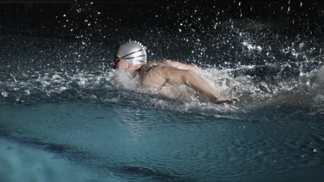 MS Man swimming in swimming pool / Aspen, Colorado, United States