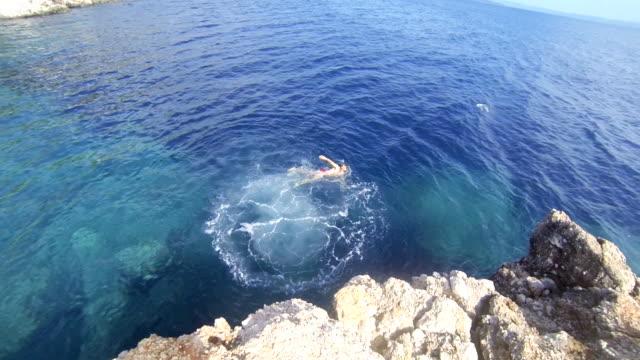 SLO MO Man Swimming In The Sea