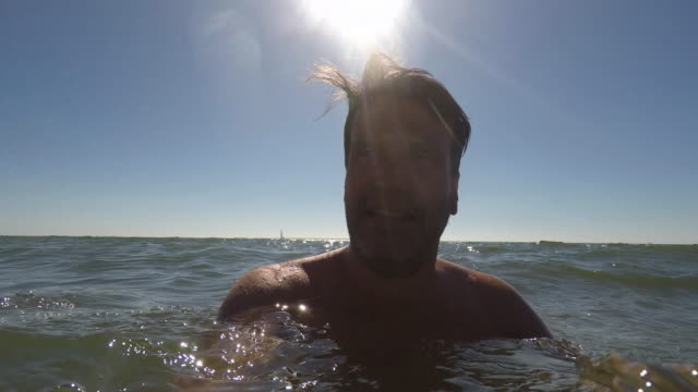 man swimming in the sea - 45 49 years stock videos and b-roll footage