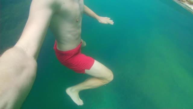 POV Man swimming in Wadi Shab