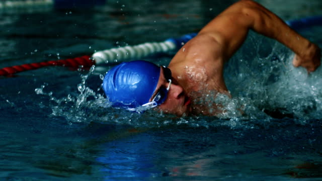 man swims front crawl style - athlete stock videos & royalty-free footage