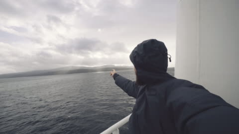 man take a selfie on sailing vessel - reportage stock videos & royalty-free footage