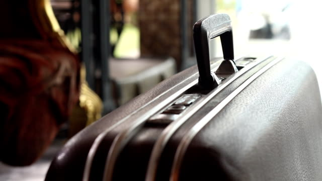 man take journey with the old suitcase - luggage stock videos & royalty-free footage