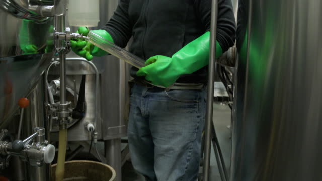 stockvideo's en b-roll-footage met man taking a sample from a beer fermenter - kwaliteitscontroleur