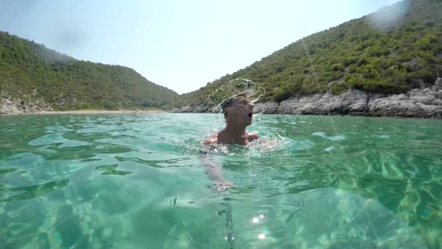 SLO MO POV Man taking selfie while swimming