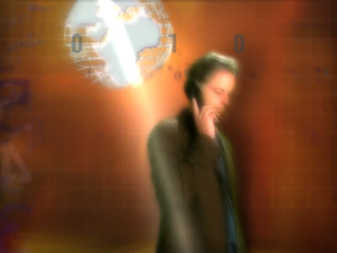 man talking on telephone, pointing to globe overhead - digital enhancement stock videos and b-roll footage