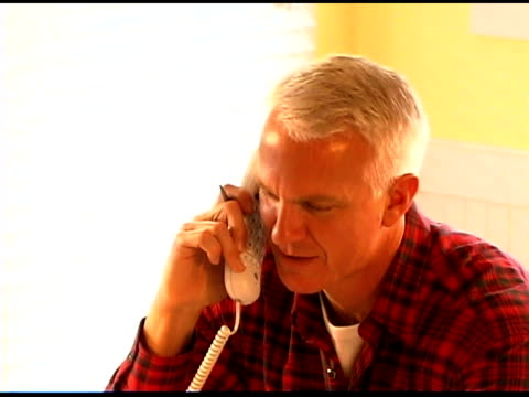 man talking on the phone - only mature men stock videos & royalty-free footage