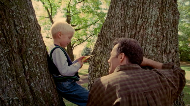 cu, man talking to boy (4-5 years) sitting on tree, usa, pennsylvania - 4 5 years stock videos & royalty-free footage