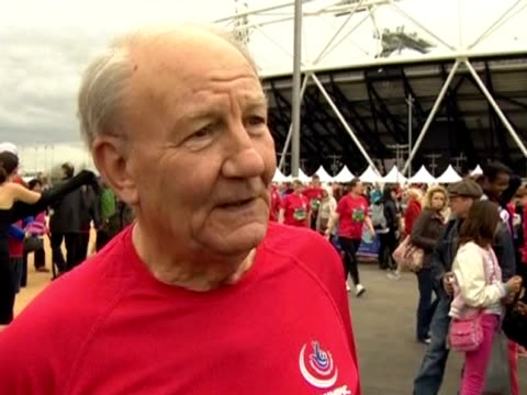 A man talks about taking part in the public race around Stratford the first event to use the Olympic Stadium