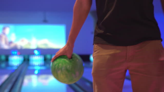 man test bowling weight and swing around - ten pin bowling stock videos & royalty-free footage