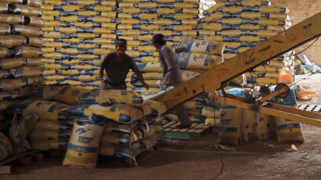 MS Man throwing bag of soy on conveyor belt / Monte Cristo, Cordoba, Argentina