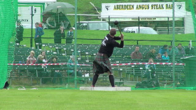 ms man throwing hammer at braemar royal highland games / braemar, aberdeenshire, scotland - highland games stock videos & royalty-free footage