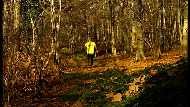 man to run marathons in extremes of heat and cold; england: berkshire: windsor: ext miles cudmore running in preparation for marathons he plans to... - ヒート点の映像素材/bロール