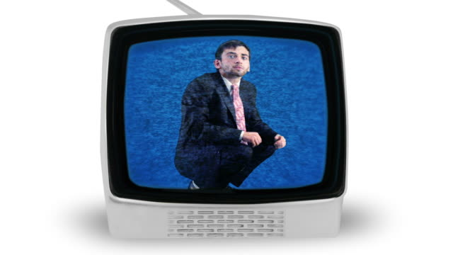 man trapped in tv set - cathode ray tube stock videos and b-roll footage