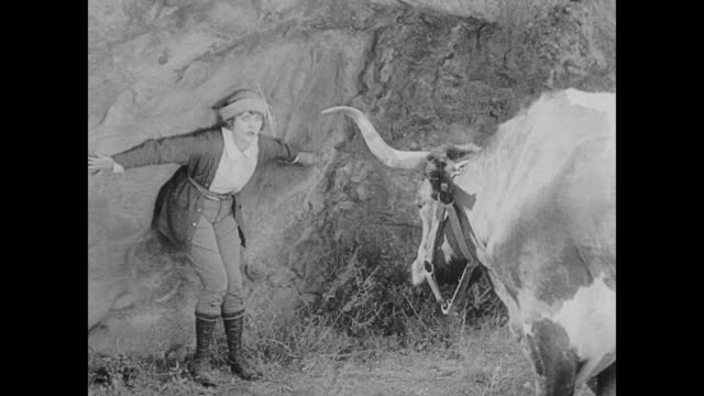 vidéos et rushes de 1923 man (buster keaton) tries to save a woman (phyllis haver) from bull attack - captive animals