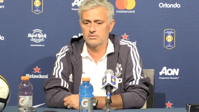 Man United postmatch press conference with manager Jose Mourinho after the penalty shootout victory against Real Madrid in a preseason friendly