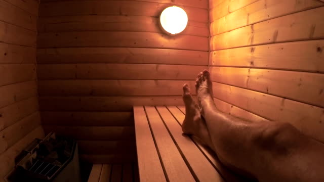 man using a sauna pov - sauna stock videos and b-roll footage