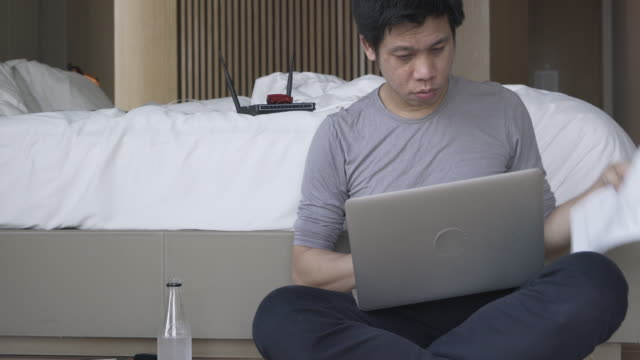 Man using computer for gaining an access to target computers