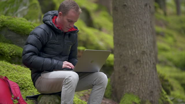 mann mit laptop in einem grünen wald in der schweiz - moos stock-videos und b-roll-filmmaterial