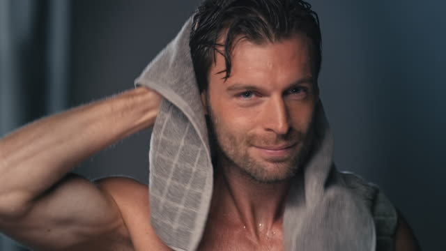 man using towel - body care stock videos & royalty-free footage