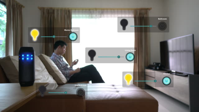 Man using voice to command home appliance and equipment
