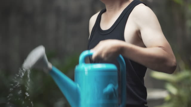 a man using watering can instead of gym weights at home exercise in quarantine covid-19 corona virus pandemic - fatto in casa video stock e b–roll