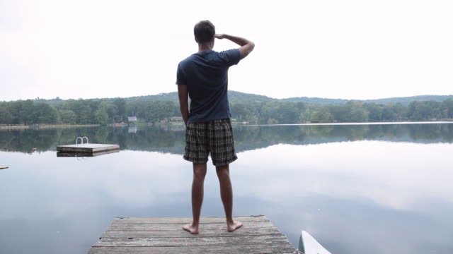 man viewing scenic lake from dock - solo uomini giovani video stock e b–roll