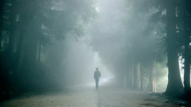 man walking alone on foggy road - grief stock videos & royalty-free footage
