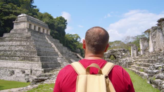 vídeos de stock e filmes b-roll de man walking along palenque mayan ruins, mexico - ruína antiga