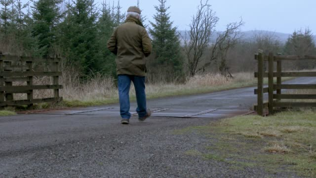 man walking away from camera on a rural scottish road - galloway scotland stock videos & royalty-free footage