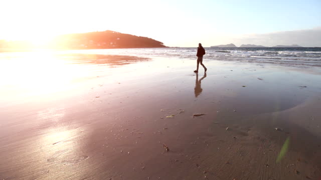 Man walking by the Sea at Sunset