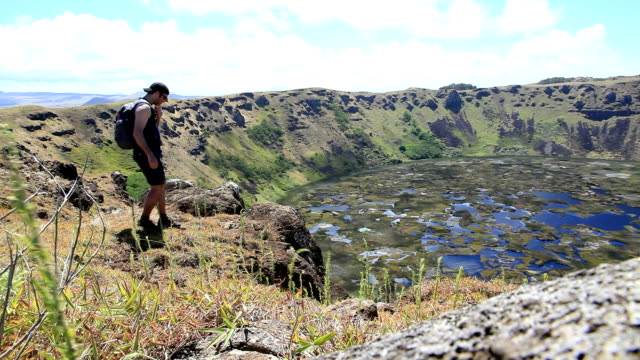 Man Walking close to Rano Kau Volcano, Easter Island, Chile